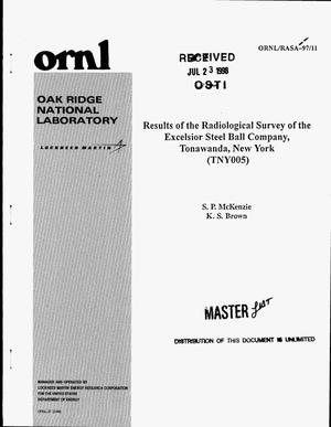 Primary view of object titled 'Results of the radiological survey of the Excelsior Steel Ball Company, Tonawanda, New York (TNY005)'.