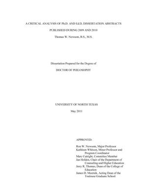 Primary view of object titled 'A Critical Analysis of Ph.D. and Ed.D. Dissertation Abstracts Published during 2009 and 2010'.
