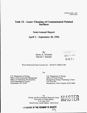 Primary view of object titled 'Task 12: Laser cleaning of contaminated painted surfaces. Semi-annual report, April 1, 1996--September 30, 1996'.