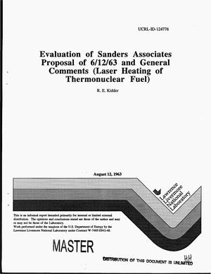 Primary view of object titled 'Evaluation of Sanders Associates proposal of 6/12/63 and general comments'.