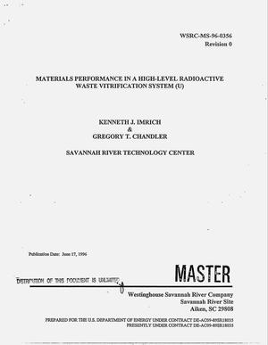 Primary view of object titled 'Materials performance in a high-level radioactive waste vitrification system'.