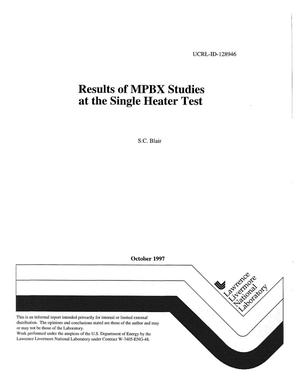 Primary view of object titled 'Results of MPBX studies at the single heater test'.