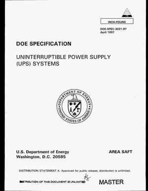 Primary view of object titled 'Uninterruptible power supply (UPS) systems'.