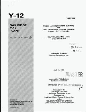 Primary view of object titled 'Self-calibrating mass spectrometer. Project accomplishment summary for DOE Technology Transfer Initiative project 92-Y12P-055-B1'.