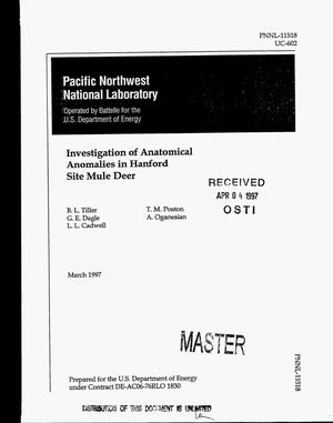 Primary view of object titled 'Investigation of anatomical anomalies in Hanford Site mule deer'.