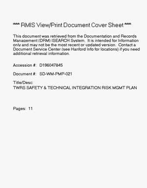 Primary view of object titled 'TWRS safety and technical integration risk management plan'.