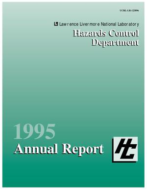 Primary view of object titled 'Hazards Control Department 1995 annual report'.