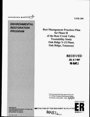 Primary view of object titled 'Best management practices plan for Phase II of the Bear Creek Valley treatability study Oak Ridge Y-12 Plant, Oak Ridge, Tennessee'.