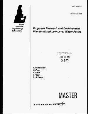 Primary view of object titled 'Proposed research and development plan for mixed low-level waste forms'.