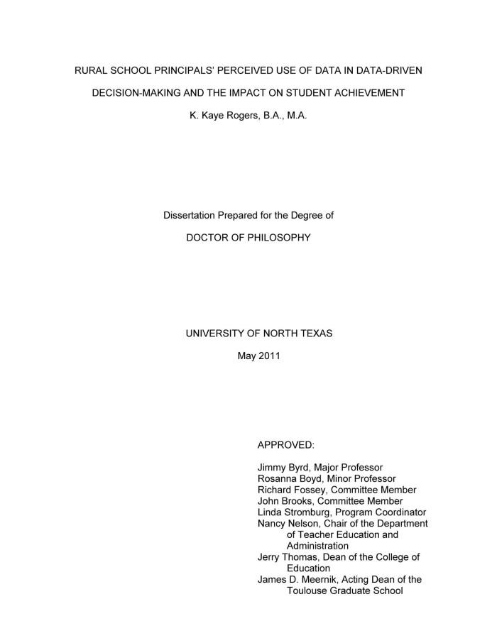 Dissertation student achievement