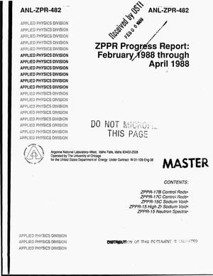 Primary view of object titled 'ZPPR progress report: February 1988 through April 1988'.