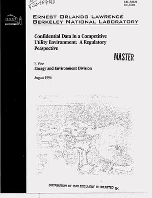 Primary view of object titled 'Confidential data in a competitive utility environment: A regulatory perspective'.