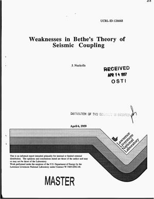 Primary view of object titled 'Weaknesses in Bethe`s Theory of seismic coupling'.