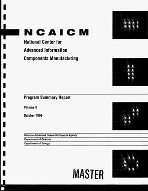Primary view of object titled 'National Center for Advanced Information Components Manufacturing. Program summary report, Volume II'.
