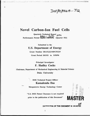 Primary view of object titled 'Novel carbon-ion fuel cells. Quarterly technical report, April--June 1996'.