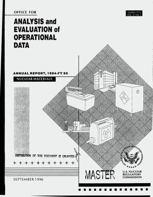 Primary view of object titled 'Office for Analysis and Evaluation of Operational Data 1994-FY 95 annual report. Volume 9, Number 2'.