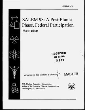 Salem 98: A post-plume phase, federal participation exercise