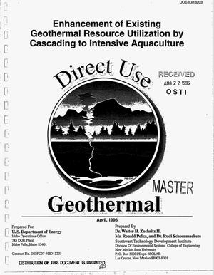 Primary view of object titled 'Enhancement of existing geothermal resource utilization by cascading to intensive aquaculture'.