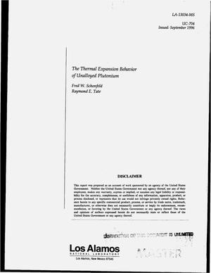 Primary view of object titled 'The thermal expansion behavior of unalloyed plutonium'.