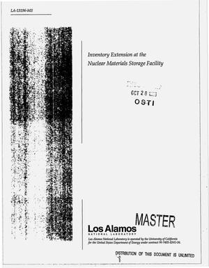 Primary view of object titled 'Inventory extension at the Nuclear Materials Storage Facility'.