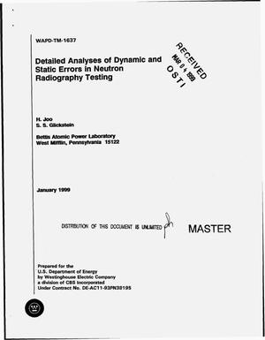 Primary view of object titled 'Detailed analyses of dynamic and static errors in neutron radiography testing'.