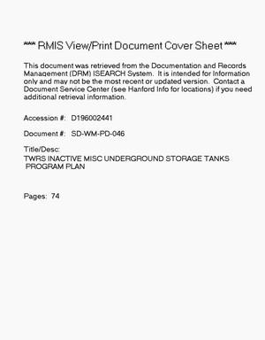Primary view of object titled 'Tank Waste Remediation System Inactive Miscellaneous Underground Storage Tanks Program Plan'.