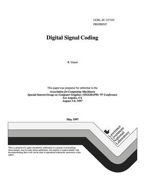Primary view of object titled 'Digital signal coding'.