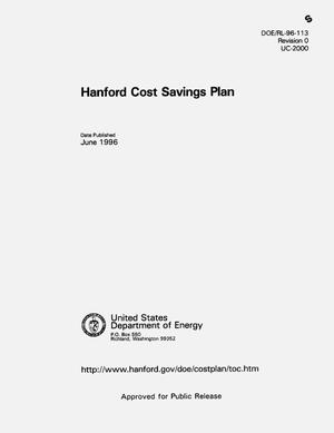 Primary view of object titled 'Hanford Cost Saving Plan'.