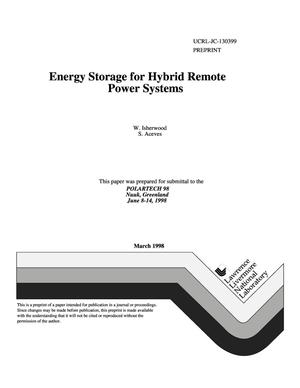 Primary view of object titled 'Energy storage for hybrid remote power systems'.