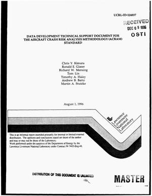 Primary view of object titled 'Data development technical support document for the aircraft crash risk analysis methodology (ACRAM) standard'.