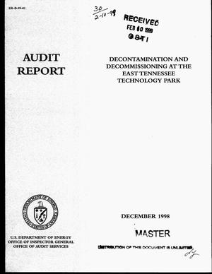 Primary view of object titled 'Office of Inspector General audit report on decontamination and decommissioning at the East Tennessee Technology Park'.