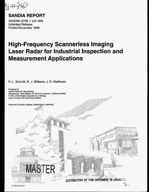 Primary view of object titled 'High-frequency scannerless imaging laser radar for industrial inspection and measurement applications'.