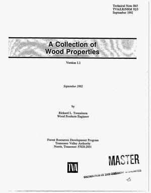 Primary view of object titled 'A collection of wood properties. Version 1.1'.