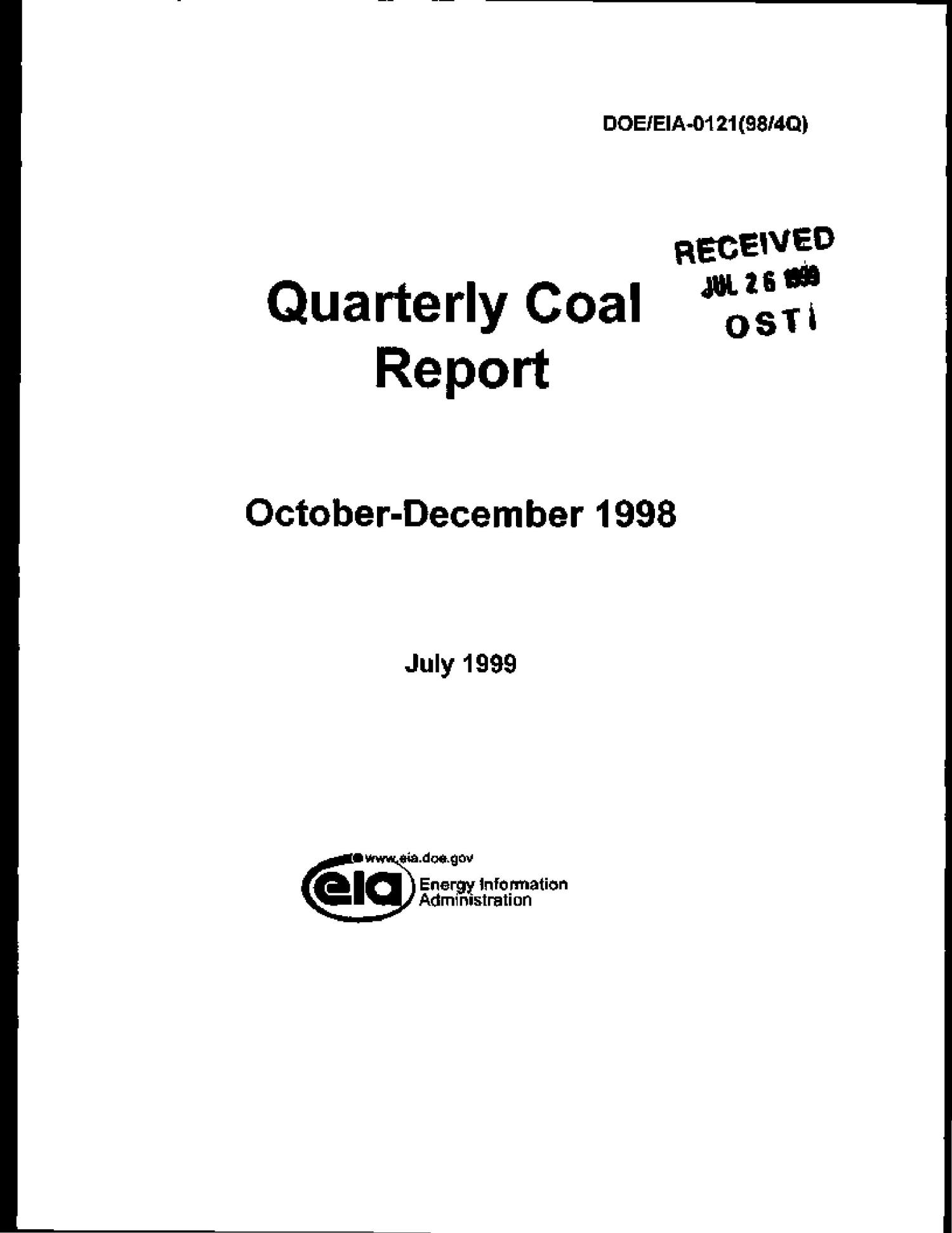 Quarterly coal report, October--December 1998                                                                                                      [Sequence #]: 1 of 114