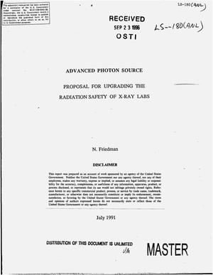 Primary view of object titled 'Advanced photon source proposal for upgrading the radiation safety of x-ray labs'.