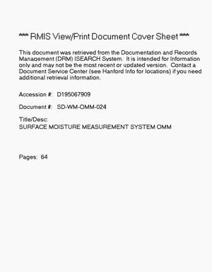 Primary view of object titled 'Surface Moisture Measurement System Operation and Maintenance Manual'.