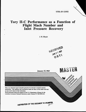 Primary view of object titled 'Tory II-C performance as a function of flight mach number and inlet pressure recovery'.