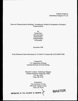 Primary view of object titled 'Reservoir architecture modeling: Nonstationary models for quantitative geological characterization. Final report, April 30, 1998'.