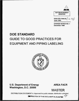 Primary view of object titled 'Guide to good practices for equipment and piping labeling'.