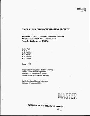 Primary view of object titled 'Tank Vapor Characterization Project: Headspace vapor characterization of Hanford Tank 241-B-105: Results from samples collected on 07/30/96'.