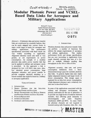 Primary view of object titled 'Modular photonic power and VCSEL-based data links for aerospace and military applications'.