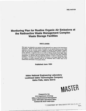 Primary view of object titled 'Monitoring plan for routine organic air emissions at the Radioactive Waste Management Complex Waste Storage Facilities'.