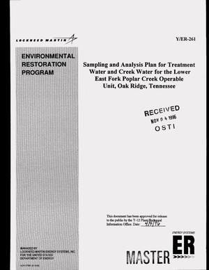 Primary view of object titled 'Sampling and analysis plan for treatment water and creek water for the Lower East Fork Poplar Creek Operable Unit, Oak Ridge, Tennessee'.