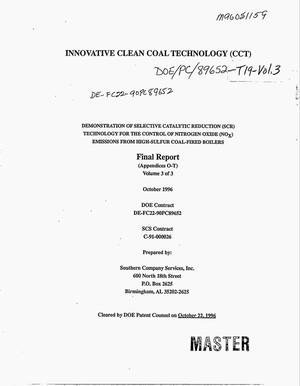 Primary view of object titled 'Innovative Clean Coal Technology (ICCT). Demonstration of Selective Catalytic Reduction (SCR) technology for the control of nitrogen oxide (NO{sub x}) emissions from high-sulfur coal-fired boilers: Volume 3, Appendices O--T. Final report'.