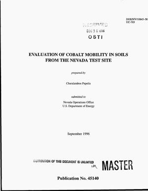 Primary view of object titled 'Evaluation of cobalt mobility in soils from the Nevada Test Site'.