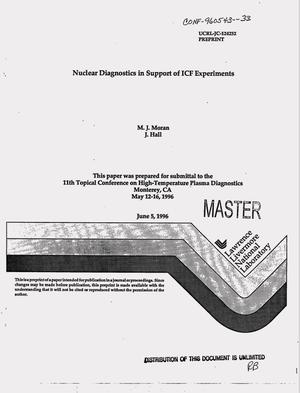 Primary view of object titled 'Nuclear diagnostics in support of ICF experiments'.