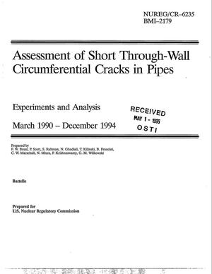 Primary view of object titled 'Assessment of short through-wall circumferential cracks in pipes. Experiments and analysis: March 1990--December 1994'.