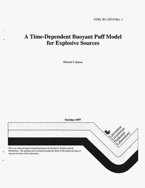 Primary view of object titled 'Time-dependent buoyant puff model for explosive sources'.