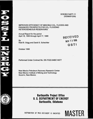 Primary view of object titled 'Improved efficiency of miscible CO{sub 2} floods and enhanced prospects for CO{sub 2} flooding heterogeneous reservoirs. Annual report, April 18, 1995--April 17, 1996'.