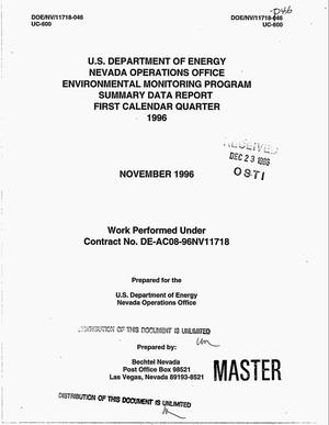 Primary view of object titled 'U.S. Department of Energy, Nevada Operations Office Environmental Monitoring Program, Summary Data Report, First Calendar Quarter 1996'.